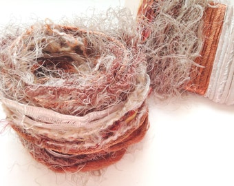 CINNAMON SUGAR Specialty Yarn Fiber Bundle - Scrapbooking, Altered Arts, Jewelry - 5 or more bundles for 10% discount