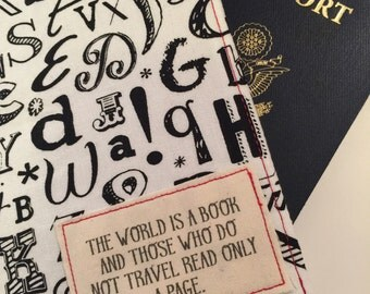 """Passport Cover, luggage tag set """"May the Road Rise Up to Meet You..."""" passport case on tribal print"""
