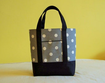 BIBLE TOTE  Perfect Size for your Bible, Journal, Pens, etc. Grey and White polkadots with black accents