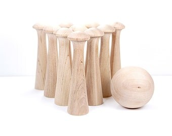 Mushroom Toy Bowling Game - DIY Natural Wood - Waldorf Inspired Toy - IN STOCK