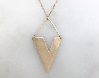 """Modern geometric brass pendant necklace """"wide v-necklace"""""""
