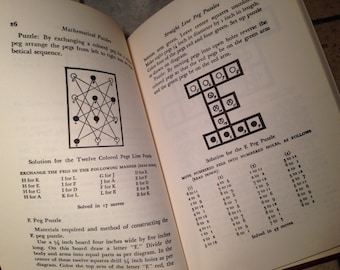1942 Mathmatical Puzzles and Other Brain Twisters Antique Book