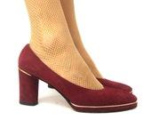 70s maroon wine platform heels gold accents 7.5  jack rogers
