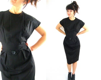 80s black cotton sundress medium