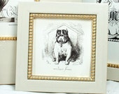 5x5in Square Narrow Waxed-White with Gold-Boule-slip Cottage-Style Frame for photos and miniature paintings