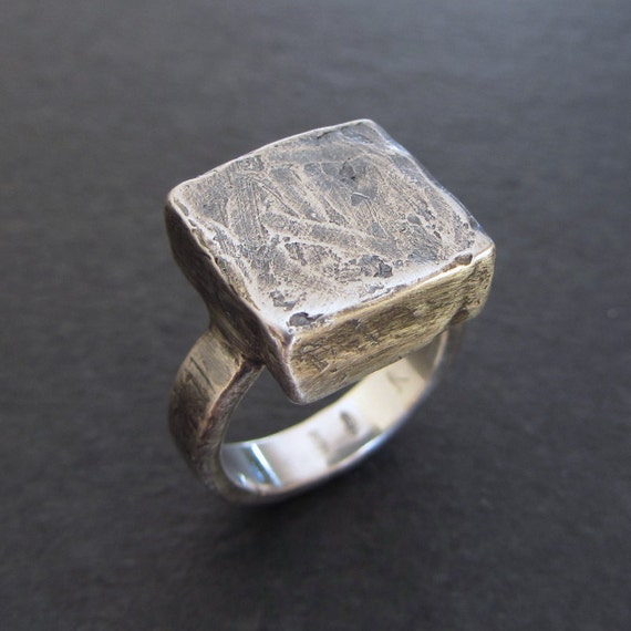 rustic sterling silver statement ring size 6 silver ring