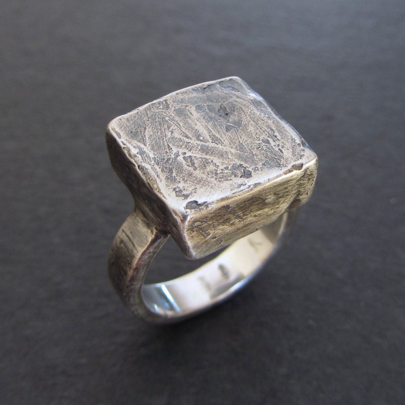 rustic sterling silver statement ring size 6 by