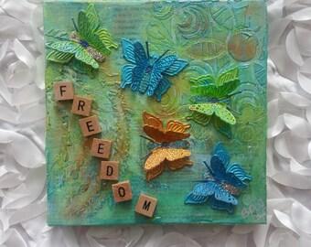 """Freedom Butterflies Mixed Media Art  -  6""""x6"""""""