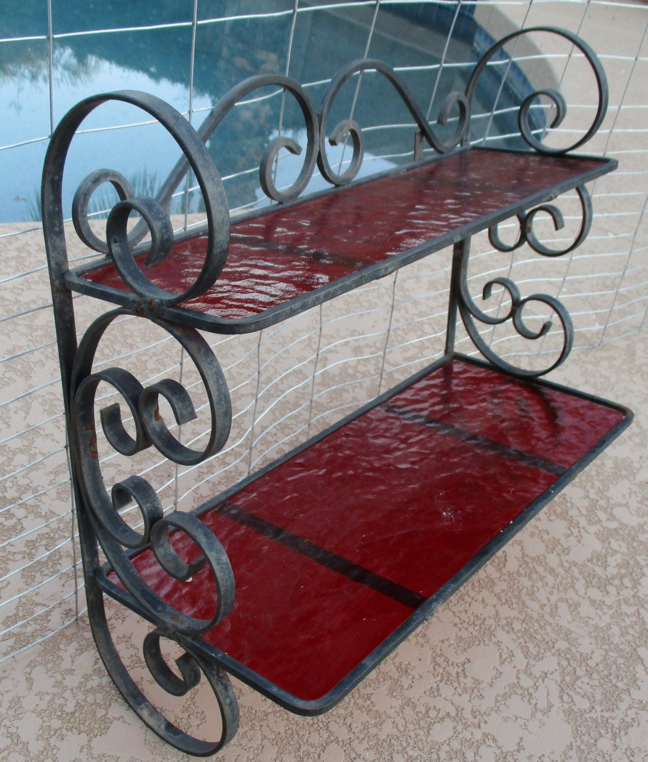 Vintage Wrought Iron Scroll Wall Hanging Mounted Shelves
