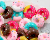 Donut Cabochon - 20mm Chunky Sprinkles Donuts Flatback Resin Cabochons - 8 pc set