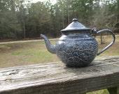 Vintage Grey Enamelware Teapot--Rustic--Primitive--Country Farmhouse Kitchen--Camping Gear--Grey Agateware