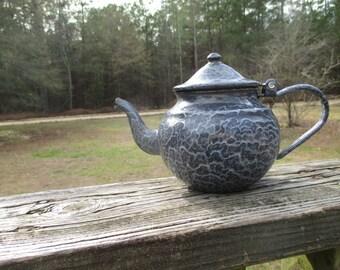 Vintage Grey Enamelware Teapot