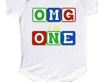 1st Birthday One Piece by Mumsy Goose One Birthday Shirt Boy or Girls 1st Birthday One Year Old
