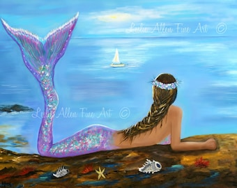 "Mermaid Art Print Mermaid Painting Mermaids Mermaid Decor Wall Art ""Mermaid Beauty On The Beach""  Wall Art Mermaid Painting Seascape Ocean"