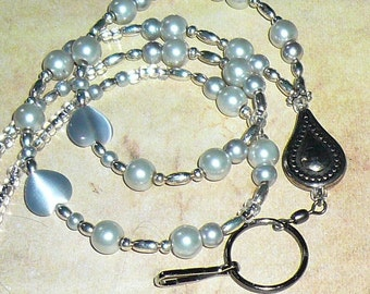 Silver Beaded Lanyard, Id Badge Holder, Id Necklace