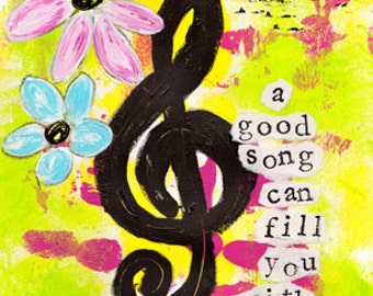 A Song Gives Courage Mixed Media Art Print, Unframed Art, Music Themed Art, Boho Chic, Home Decorating, Interior Design