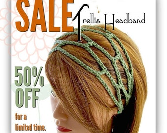 SALE ---The ORIGINAL Trellis Headband- Custom Order Only - Your Choice of Color