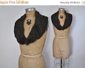 SALE Mahogany Rabbit Fur Collar / soft genuine fur