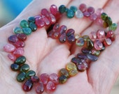 "Pink Green Gem Watermelon Bio Tourmaline Smooth Pear Briolette Drop Beads 4"" half strand 40 beads"
