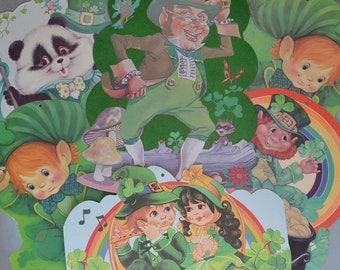 """6 Vintage St Patrick's Day Die Cut Leprechauns Elves Children Panda 13.5"""""""