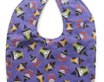 Reversible Halloween Baby Bib - Owls Baby Bib - Witch Owls Baby Bib - Purple Baby Bib - Trick Or Treat Baby Bib - Ready To Ship