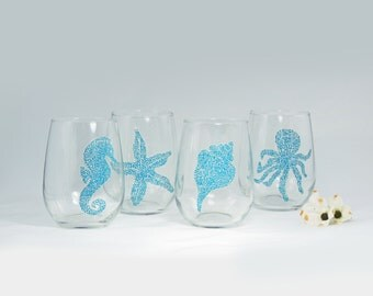 Beach theme stemless wine glasses - Set of 4 hand painted glasses - Sea Glass Collection