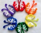 Crochet Butterfly Magnets -Small White with Multi Color Trim
