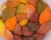 Hand dyed spinning fibrel, Corriedale, hand painted  tops, roving, spinning fibre, fiber, wool, felt, colour; Fields of Gold