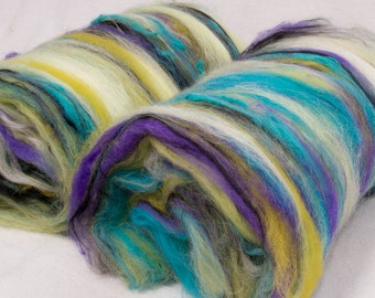 Art batts, Hand Carded Batts, Merino, Milk fibre, Cotton, Milk fibre, Spinning fibre, felting, fiber, 100g, Festival