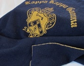 Wool College Blanket Kappa Kappa Gamma Sorority Fraternity Stadium Throw Navy Blue Yellow Old School Collegiate