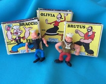 Vintage Popeye, Brutus, Miniature Toys Plus Olive Oil Box Made in Italy 70's Movie TV Cartoon