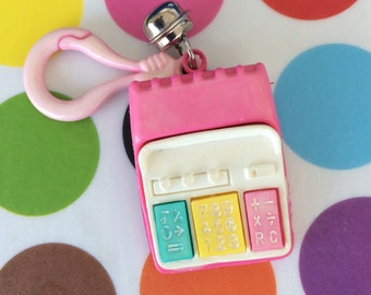 Vintage 80's Plastic Bell Clip Pink Calculator with Buttons Charm Toy Necklace Jewelry Pendant