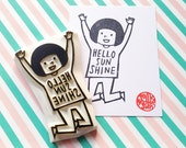 hello sunshine rubber stamp. girl hand carved rubber stamp. message tshirt stamp. birthday children's day scrapbooking. quirky gift wrapping