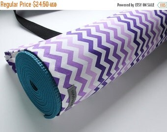 Yoga Mat Bag, Yoga Mat Carrier, Yoga Mat Sack, Fits wide mats, Purple White Ombre Chevron