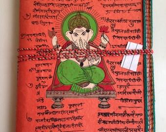 Ruled Journal, Orange Journal, Ganesha Journal, Ganpati, Art Journal, Spiritual Diary, Prayer Affirmations Journal,Hindu Sanskrit Design