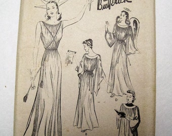 Unused FF 30s 40s Vintage Pattern Butterick 1693, Adult Costume Dress, Statue of Liberty, Grecian Goddess Gown, Angel w/ Wings, Bust 34