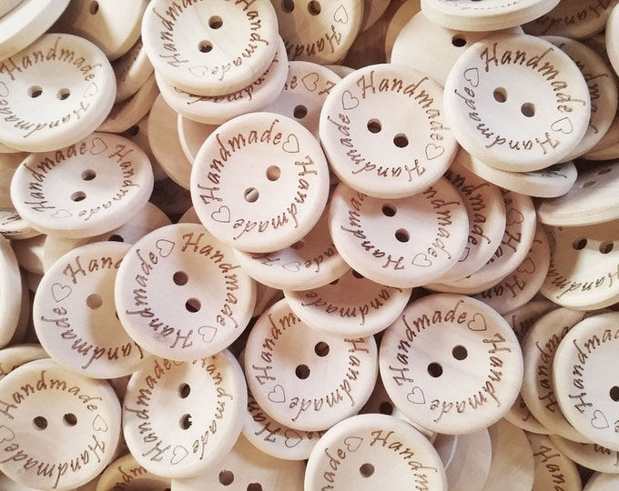 Featured listing image: 4 Natural unfinished wood button with handmade logo engraved (BB118AA)