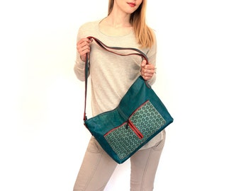 "lined leather bag - zipper handmade leather tote – turquoise green bag with pockets - crossbody bag - fashion purse with pockets - ""VANDA"""
