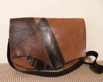"handmade brick and chestnut brown leather bag - genuine leather crossbody purse with magnetic snaps- italian quality leather ""CARLA"""