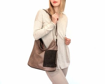 "ooak zipper lined shoulder bag with pockets, large beige and borwn bag - lined genuine leather tote - italian quality leather -""CAPRICIA"""