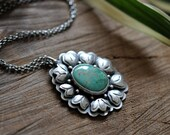 xX SALE Xx Sterling Turquoise Necklace, Oxidised Sterling Silver Statement Pendant, Gemstone Metalwork Necklace