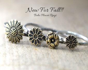 Rustic Boho Flower Ring, Hipster Flower Ring, Sunflower Ring, Daisy Ring, Stacking Rings, Flower Rings, Rustic Flower Ring Silver