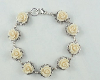 FREE SHIPPING Petite Blush Rose Bracelet Silver Filigree Off white  Blush Shabby Chic Girly Bridal Bride Wedding