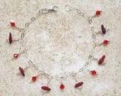 Rare Red Sea Glass & Swarovski Crystals Sterling Silver Charm Bracelet