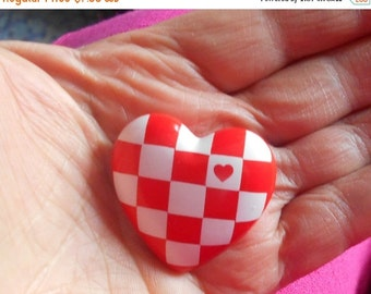 1 DAY SALE Hallmark Heart Brooch, Red White Plastic Pin 1985