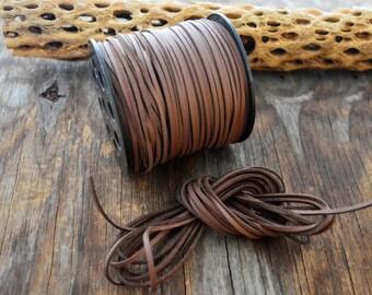 Dark Chocolate Brown Textured Faux Suede Leather Cord, 15 feet bundle (5 yards) / Microfiber, Vegan Suede, DIY Cord Supply, Faux Suede Cord