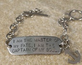 I Am The Master Of My Fate...Stainless Steel Bracelet with Anchor