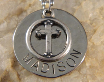 Custom Name or Confirmation Cross Necklace