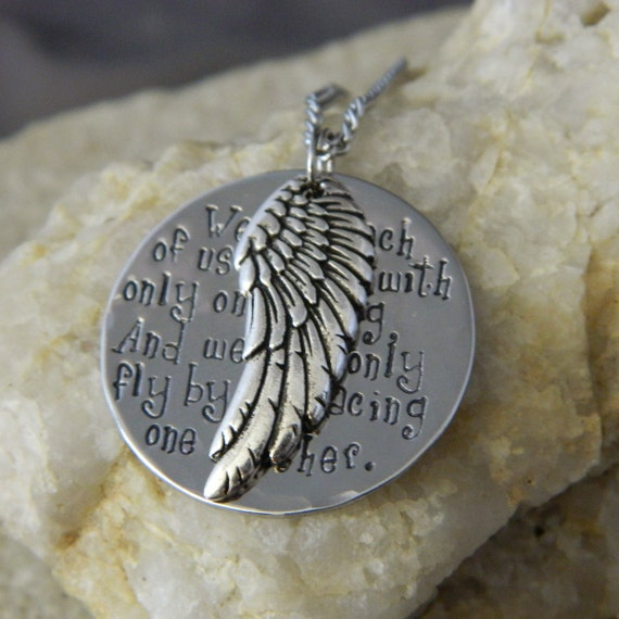 We Are Each of Us Angels with only One Wing Angel Quote Necklace