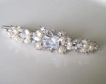 Wedding Hair Clip, Wedding Hair Accessory, CZ Bridal Hair Clip, Crystal Hair Clip, Wedding Headpiece